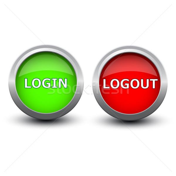 Gombok bejelentkezés kijelentkezés fehér számítógép hullám Stock fotó © mizar_21984