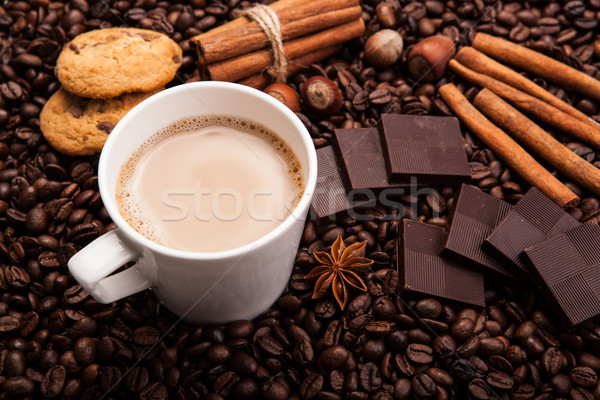 coffee beans coffee with cream in a cup Stock photo © mizar_21984