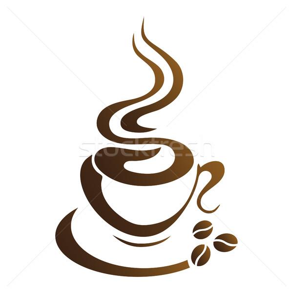 Caldo tazza di caffè vettore bianco cucina bere Foto d'archivio © mizar_21984