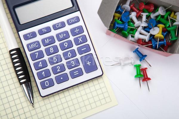 один большой калькулятор канцтовары белый таблице Сток-фото © mizar_21984