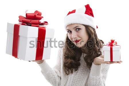 girl in a pink dress holding a gift box Stock photo © mizar_21984
