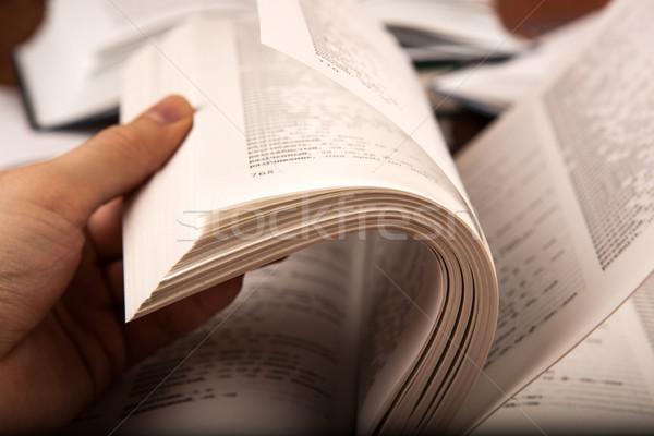 Mão humana dicionário madeira arte educação Foto stock © mizar_21984