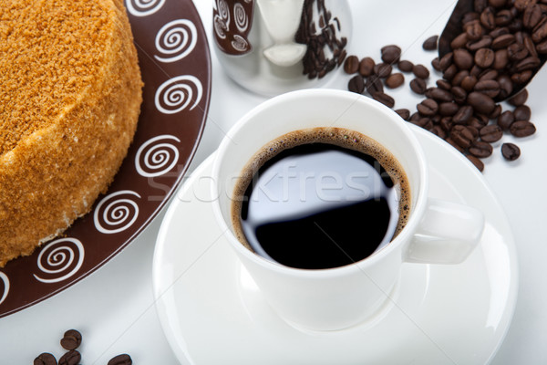 Still life of cup of coffee and pastry Stock photo © mizar_21984