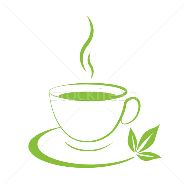 Tea cup icon green Stock photo © mizar_21984