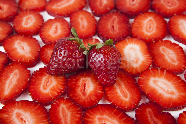 çilek dilimleri meyve arka plan kırmızı Stok fotoğraf © mizar_21984