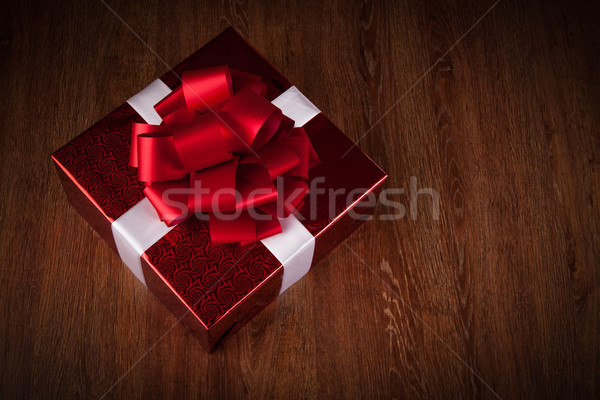 one large red gift box top view Stock photo © mizar_21984