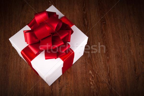 one large white gift box top view Stock photo © mizar_21984