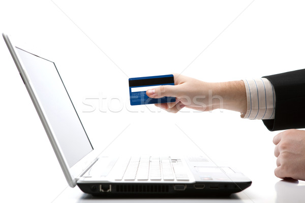 Stock photo: Credit card in hand when you pay