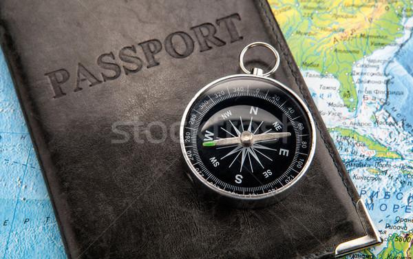 компас паспорта охватывать Мир карта север Америки Сток-фото © mizar_21984