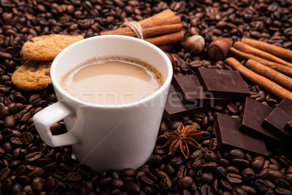 coffee with milk and coffee beans Stock photo © mizar_21984