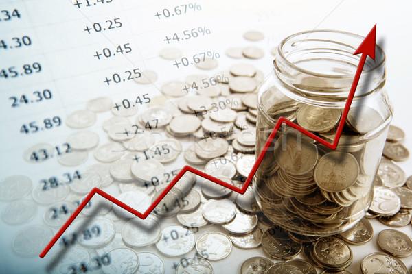 Banco moedas dígitos diagrama negócio Foto stock © mizar_21984