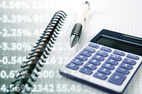 Berechnung Cash Ertrag Ziffern Stift Notebook Stock foto © mizar_21984