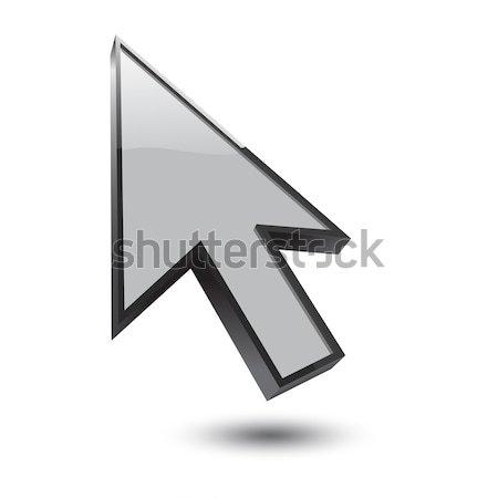 Curseur 3D icône noir ombre blanche Photo stock © mizar_21984