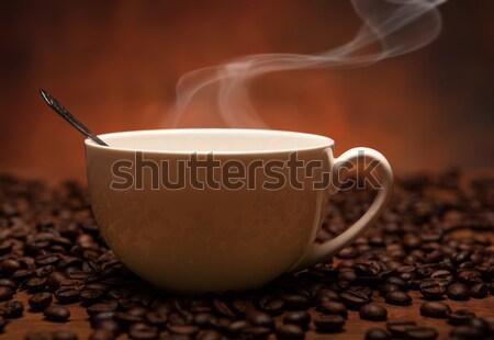 Koffie stilleven beker rook drinken zwarte Stockfoto © mizar_21984