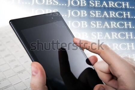 Pessoas trabalhar mão humana empurrando tela sensível ao toque Foto stock © mizar_21984