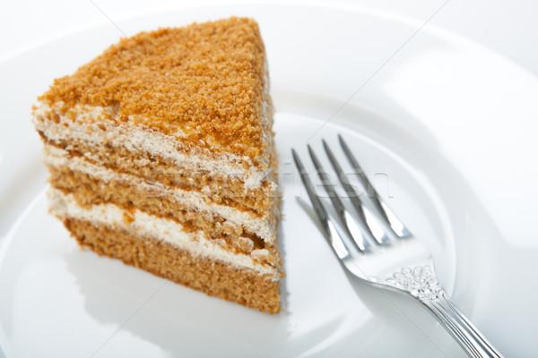 one piece of cream cake on the plate Stock photo © mizar_21984