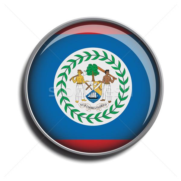 Zászló ikon webes gomb Belize izolált fehér Stock fotó © mizar_21984