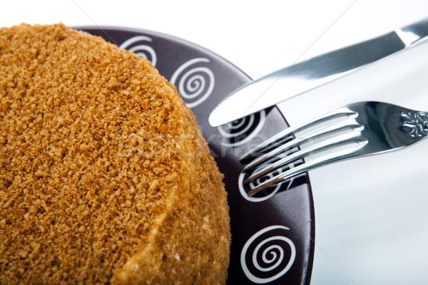 全体 クリーム ケーキ プレート フォーク ナイフ ストックフォト © mizar_21984