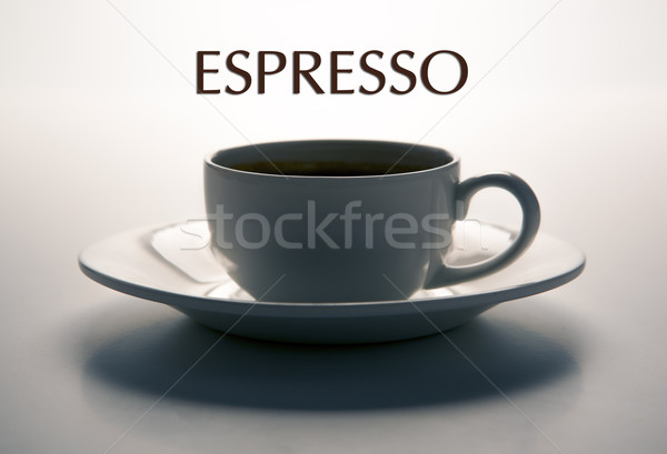 glass cup and saucer closeup with title espresso Stock photo © mizar_21984