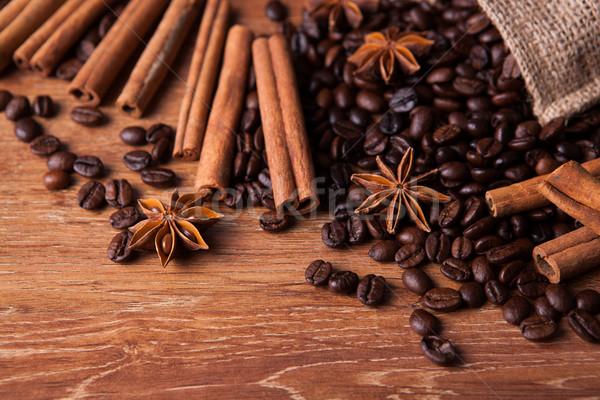 roasted coffee and cinnamon sticks Stock photo © mizar_21984