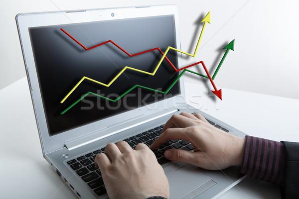 Empresário trabalhando laptop analítica previsão humanismo Foto stock © mizar_21984