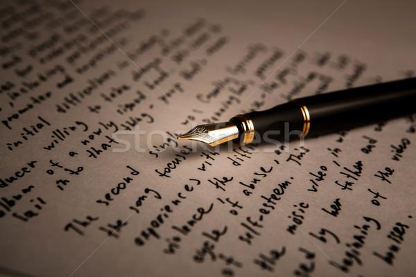 авторучка литература текста лист бумаги Сток-фото © mizar_21984