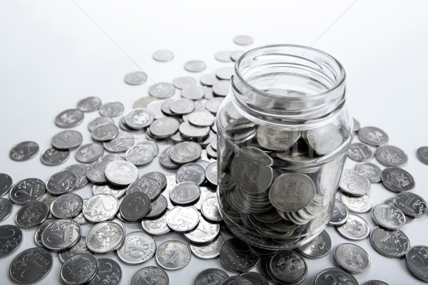 bank with coins and counting Stock photo © mizar_21984