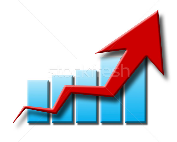 chart and arrow on a white background in progress Stock photo © mizar_21984