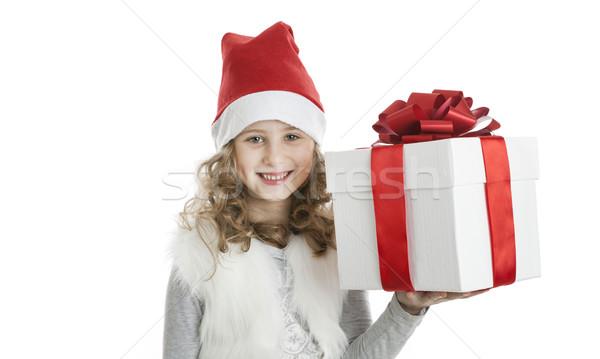 Kislány karácsony sapka ajándék doboz fehér mosoly Stock fotó © mizar_21984
