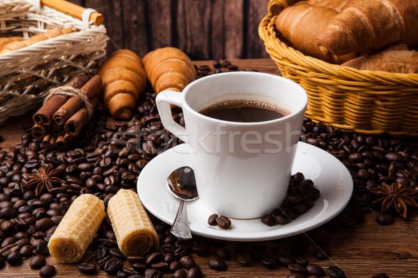 Koffie stilleven beker hout tabel landbouw Stockfoto © mizar_21984