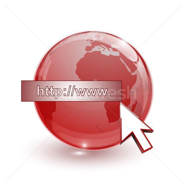 Vetro mondo terra mappa 3D rosso Foto d'archivio © mizar_21984