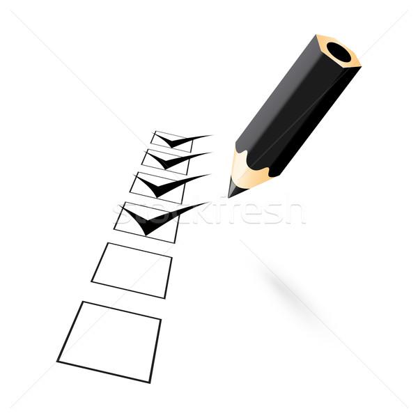 black penci with drawn ticks Stock photo © mizar_21984