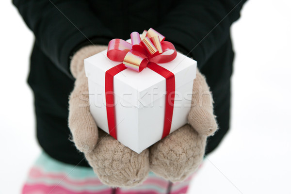 Female hands give you a gift box Stock photo © mizar_21984