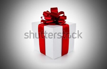Bianco scatola regalo arco isolato carta Foto d'archivio © mizar_21984