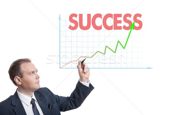 бизнесмен рисунок диаграммы текста изолированный бизнеса Сток-фото © mizar_21984