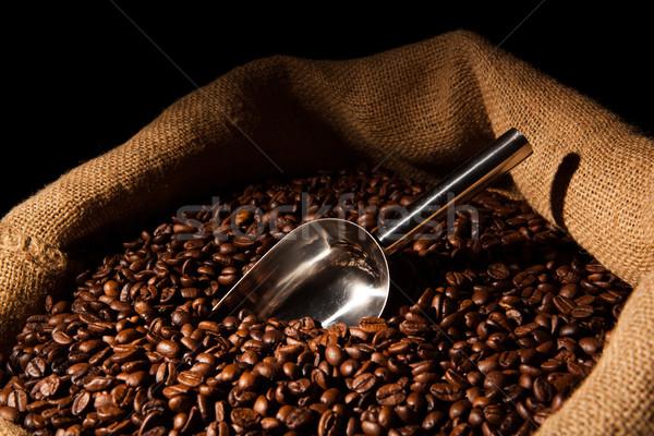 Foto d'archivio: Chicchi · di · caffè · raccogliere · bag · tavola