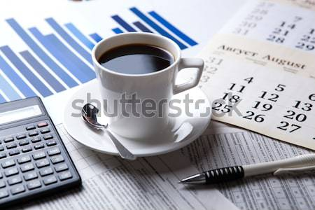 ビジネス 静物 朝食 カップ ブラックコーヒー 事務用品 ストックフォト © mizar_21984