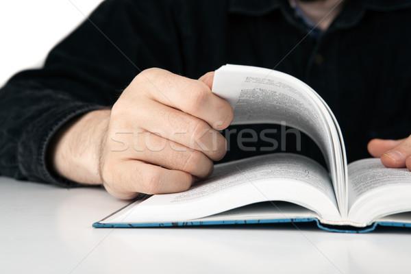 Kezek férfi könyv közelkép munka tanulás Stock fotó © mizar_21984