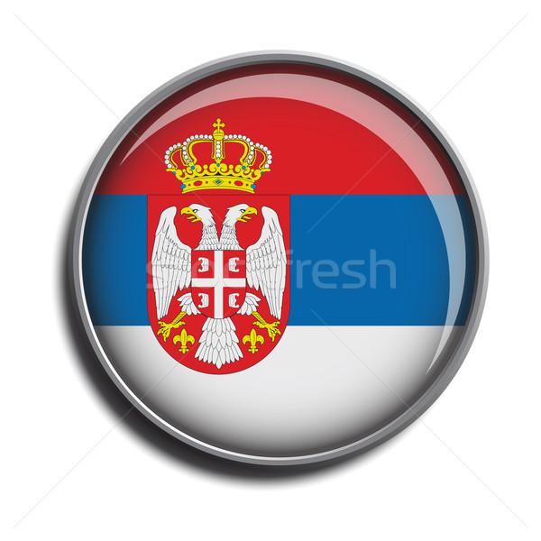 Pavillon icône Serbie isolé blanche Photo stock © mizar_21984