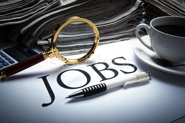 Stock photo: job search still life with title jobs