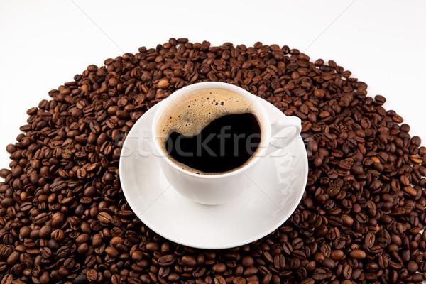 Кубок черный кофе пена кофе бобов Сток-фото © mizar_21984