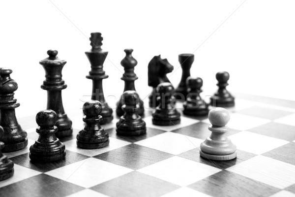 Sakkfigurák tábla fehér fa sakk idő Stock fotó © mizar_21984