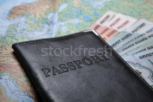 Pasaport çanta harita banka notlar Stok fotoğraf © mizar_21984