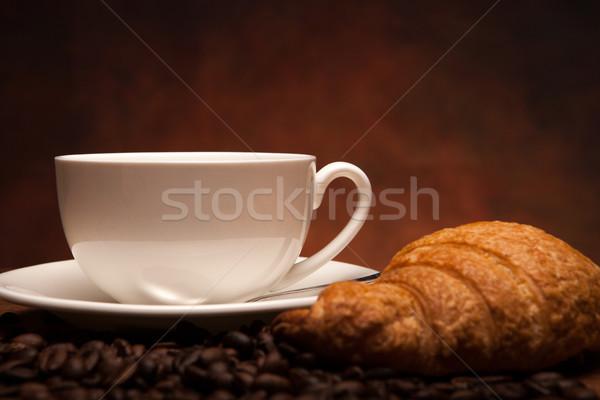 Koffie stilleven beker croissants voedsel keuken Stockfoto © mizar_21984