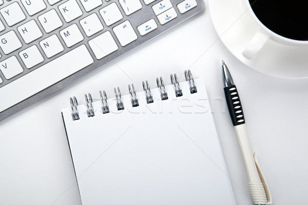 business still life of a notebook, coffee cup and keyboard on th Stock photo © mizar_21984