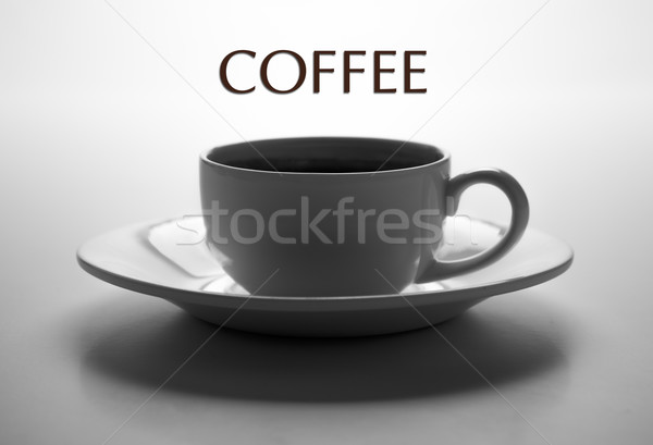 glass cup and saucer closeup with title coffee Stock photo © mizar_21984