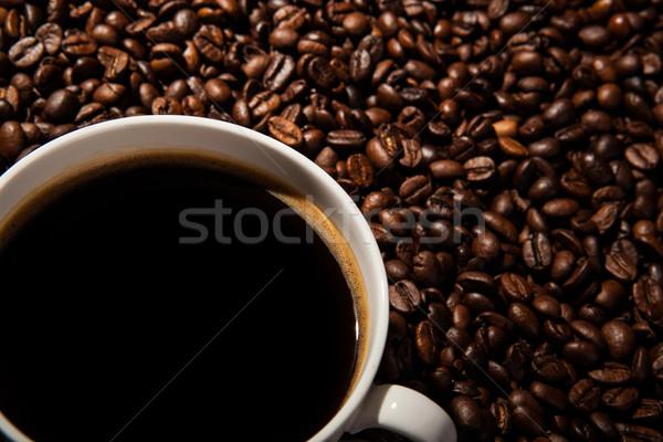 Fincan siyah kahve kahve çekirdekleri gıda Stok fotoğraf © mizar_21984