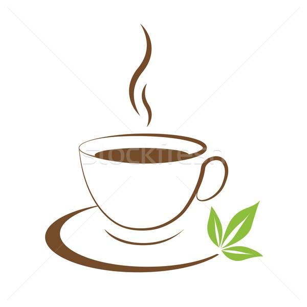 Teáscsésze ikon barna fehér étel levél Stock fotó © mizar_21984