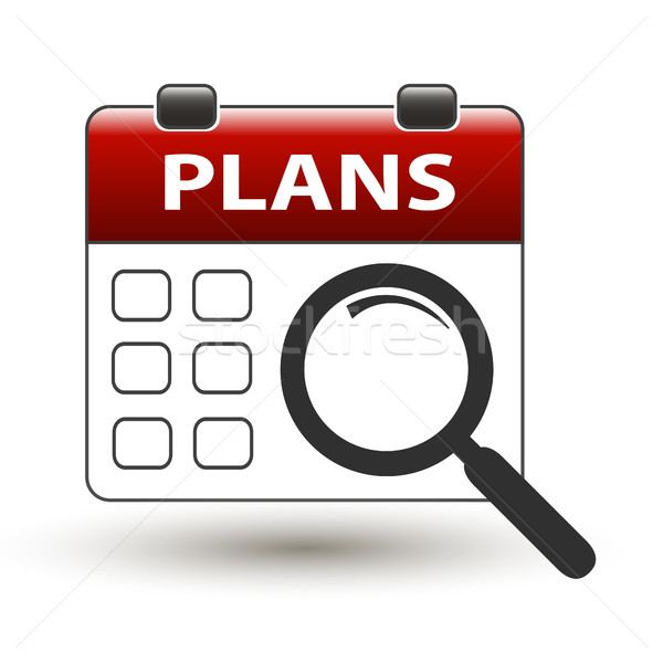 tear-off calendar with magnifying glass with title plans Stock photo © mizar_21984