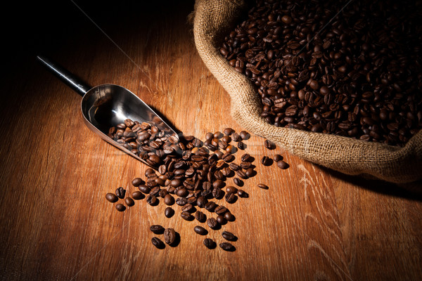 roasted coffee beans with scoop  Stock photo © mizar_21984